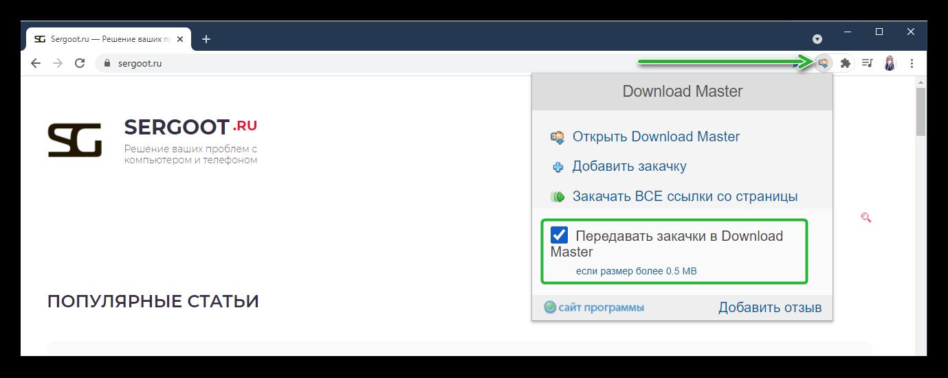 Активация и настройка расширения Download Master