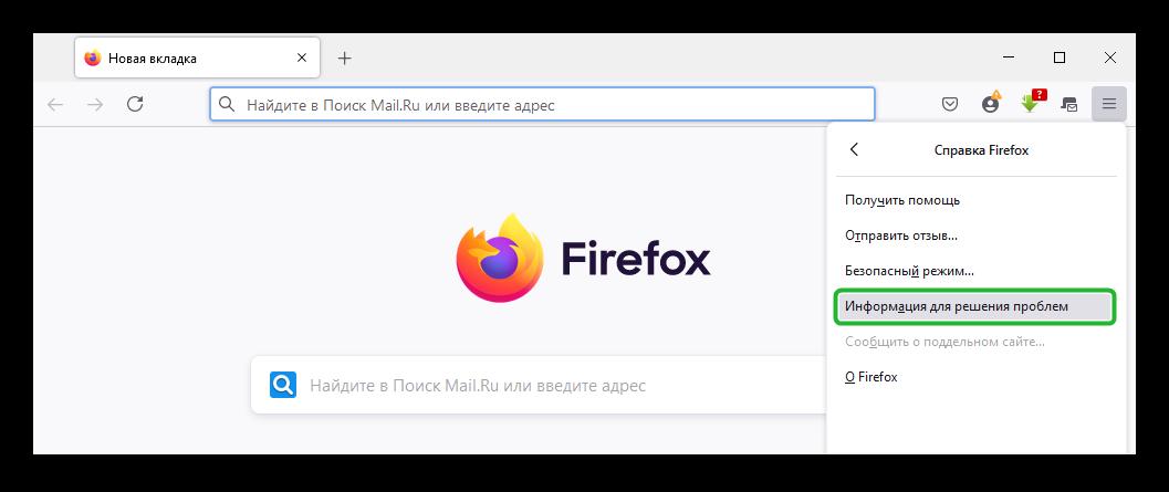 Открыть раздел Информация для решения проблем в Firefox
