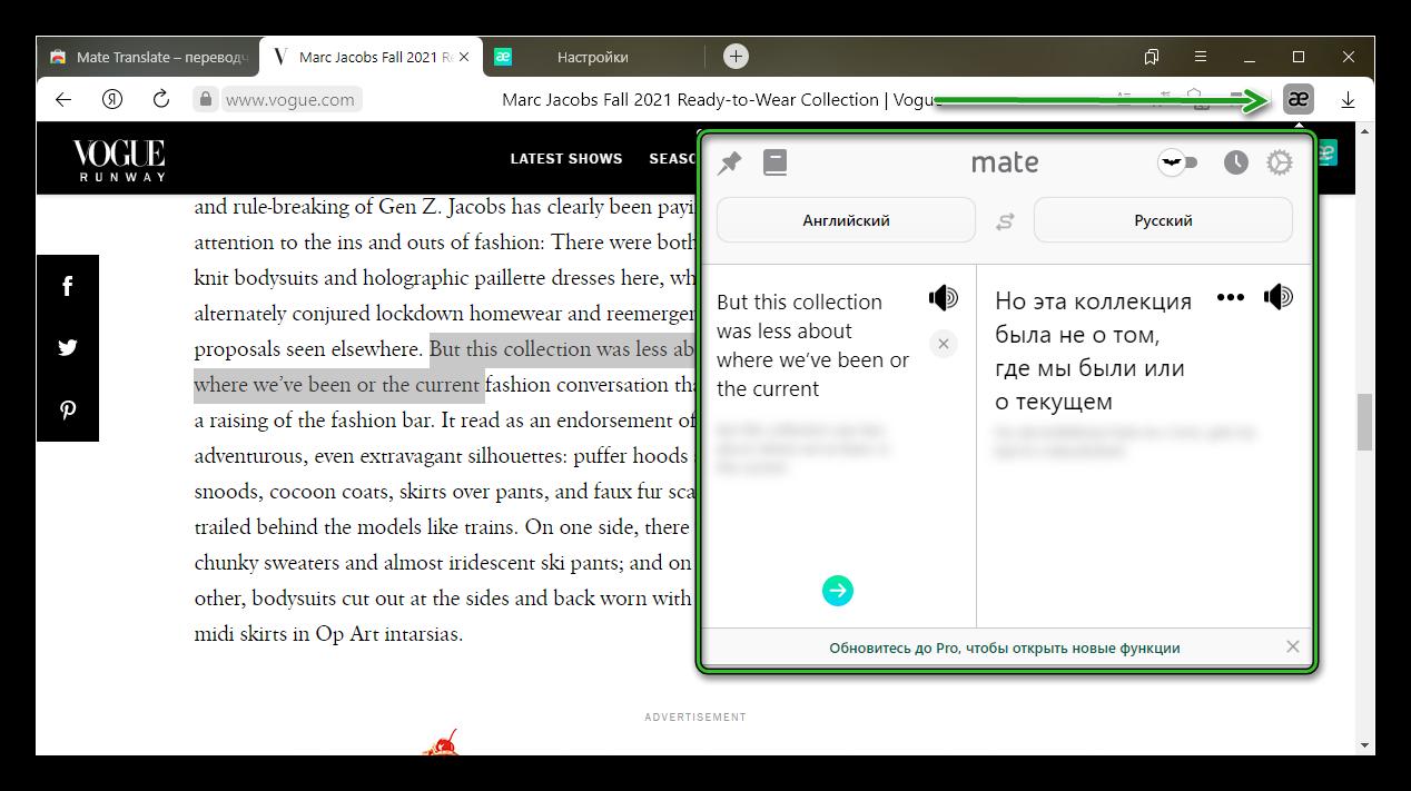 Расширение Mate Translator для Яндекс браузера