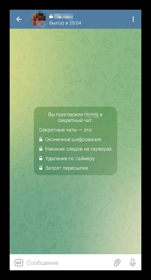 Вид секретного чата в Telegram
