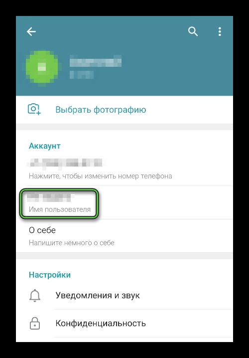 Заполненное имя пользователя в настройках Telegram
