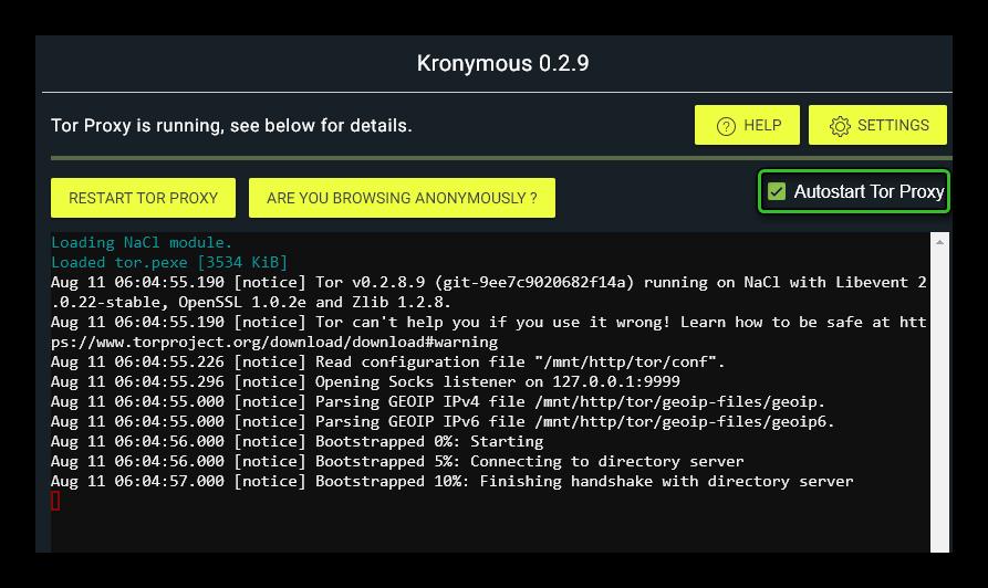 Инциализация работы приложения Kronymous