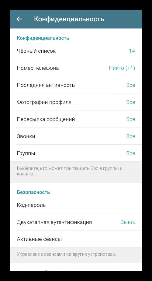 Вкладка Конфиденциальность в настройках Telegram