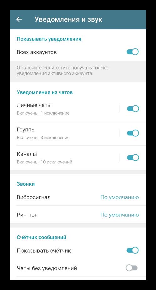 Вкладка Уведомления в настройках Telegram